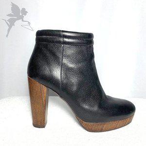ADOLFO DOMINGUEZ Leather wood heel booties